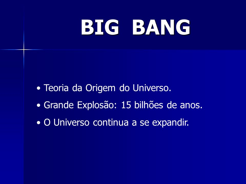 BIG BANG Teoria da Origem do Universo.