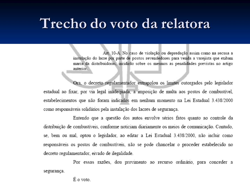 Trecho do voto da relatora
