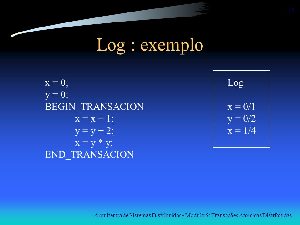 Log : exemplo x = 0; y = 0; BEGIN_TRANSACION x = x + 1; y = y + 2;