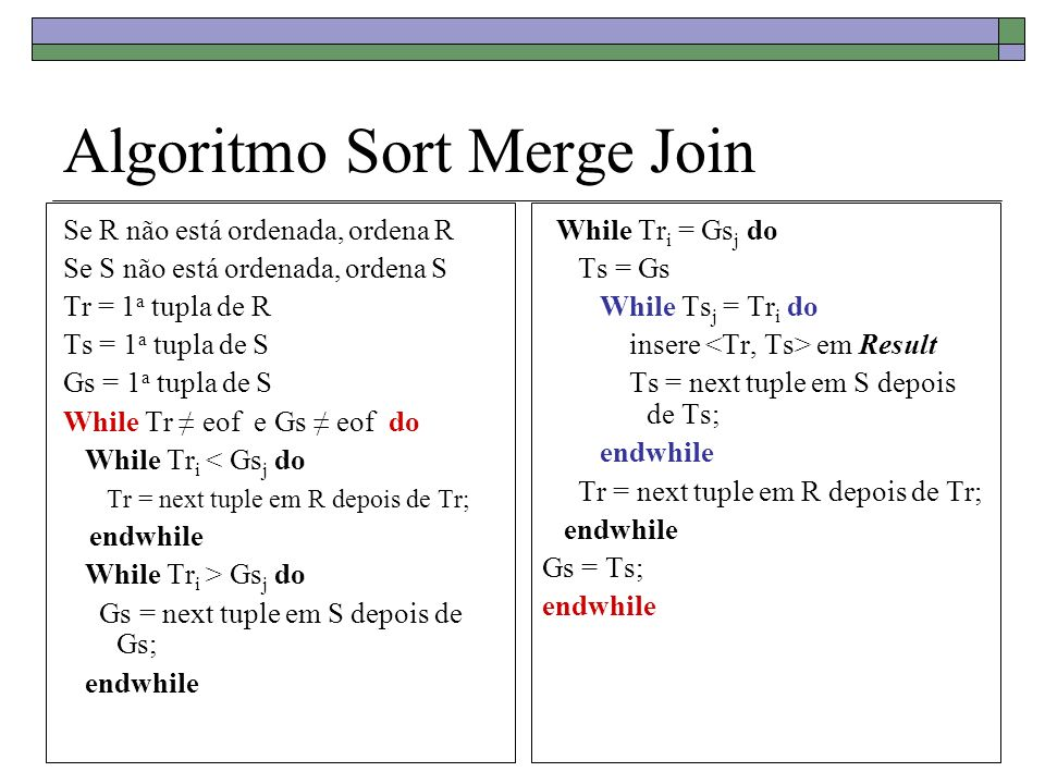 Algoritmo Sort Merge Join