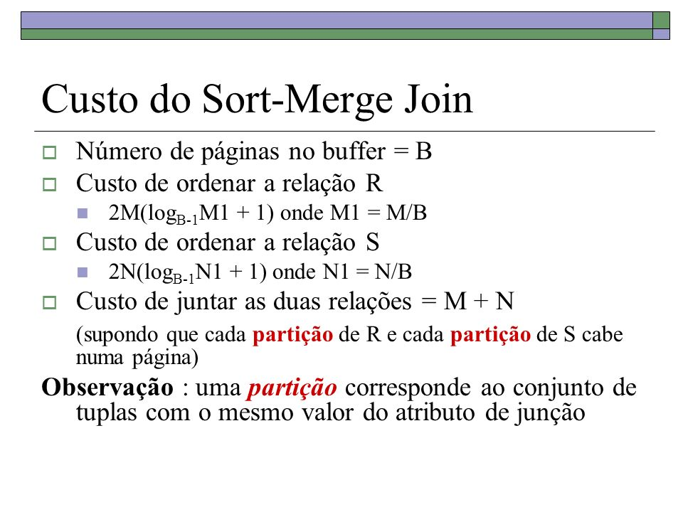 Custo do Sort-Merge Join