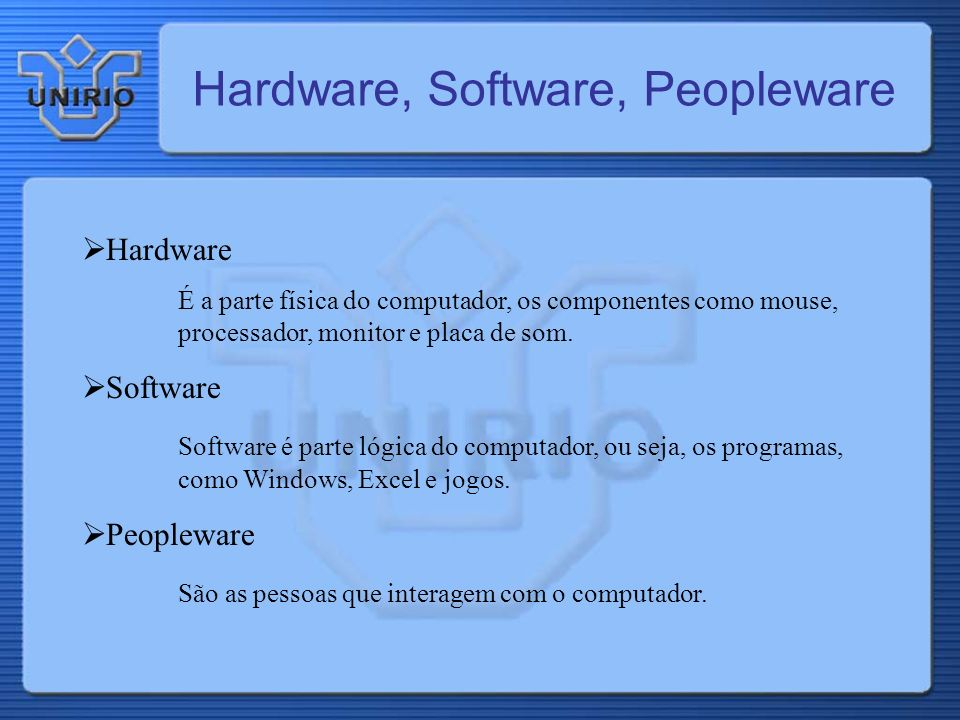 Hardware, Software, Peopleware