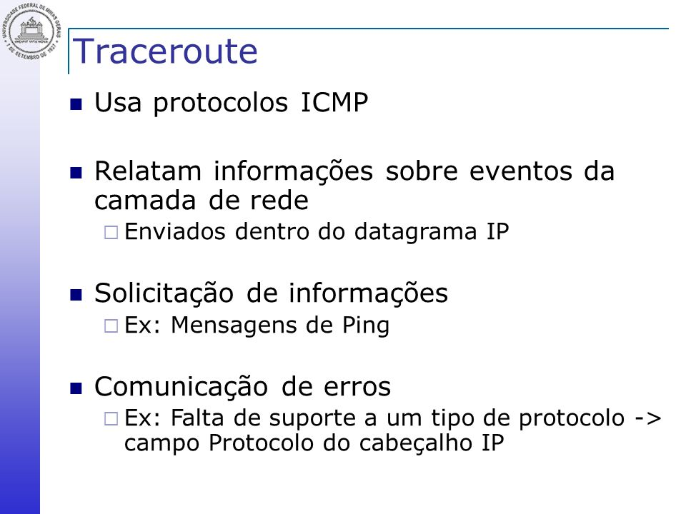 Traceroute Usa protocolos ICMP