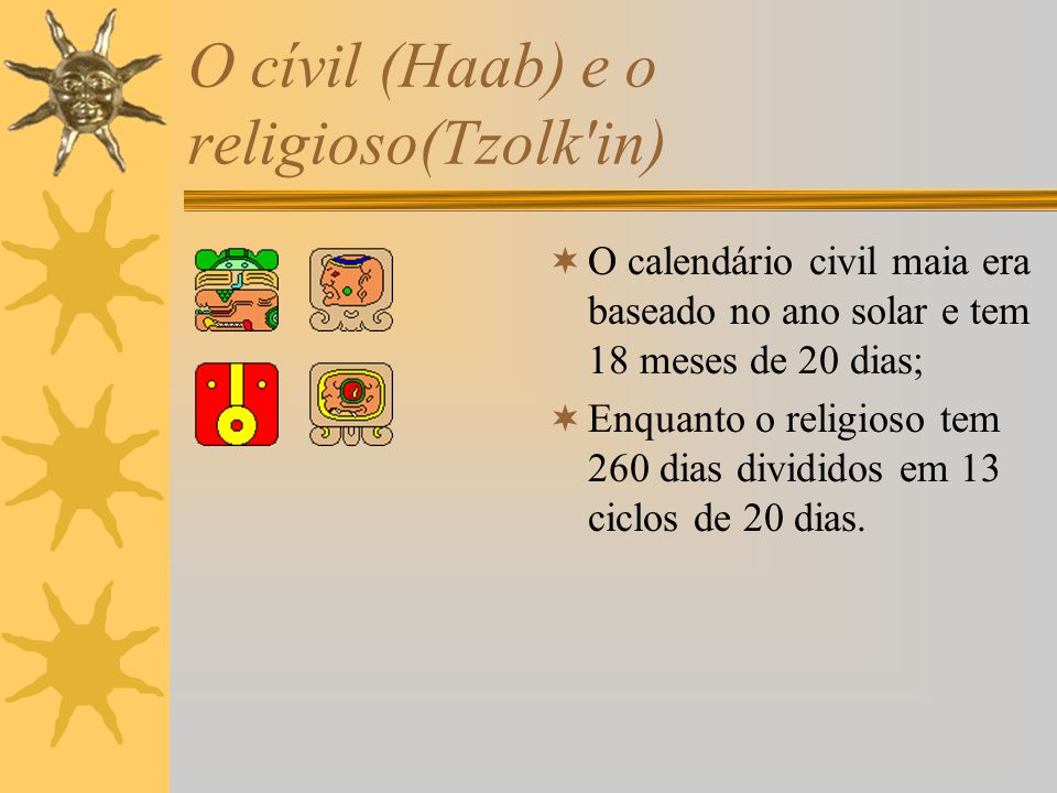 O cívil (Haab) e o religioso(Tzolk in)