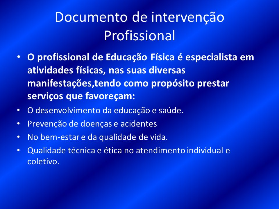 13 Documento de intervenção Profissional O profissional de Educação Física  ... 09a75e2452583