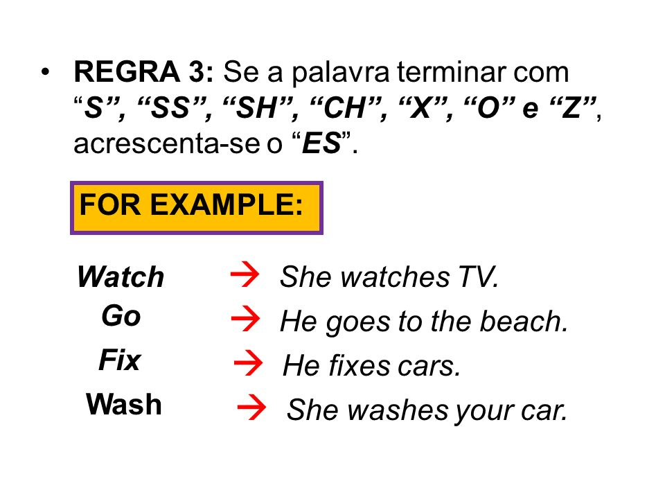  She watches TV.  He goes to the beach.  He fixes cars.