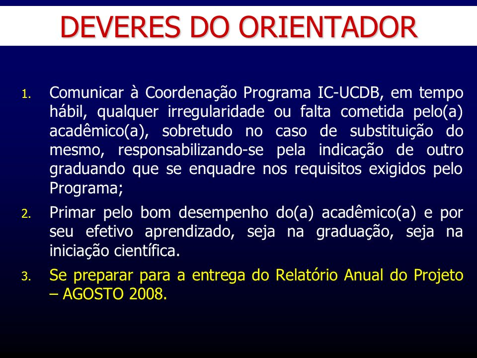 DEVERES DO ORIENTADOR