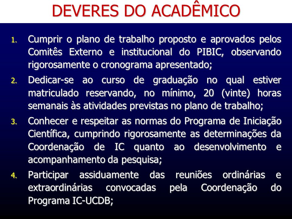 DEVERES DO ACADÊMICO