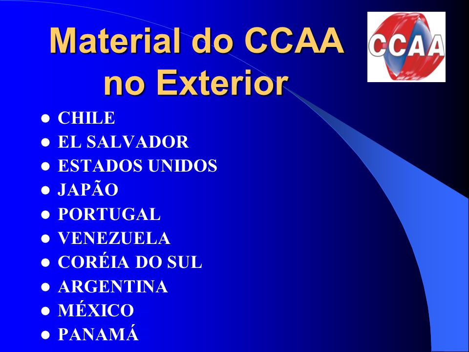 Material do CCAA no Exterior