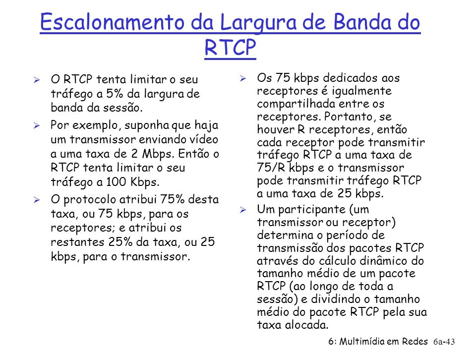 Escalonamento da Largura de Banda do RTCP