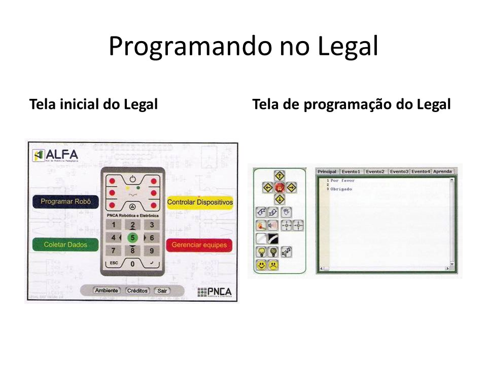 Programando no Legal Tela inicial do Legal