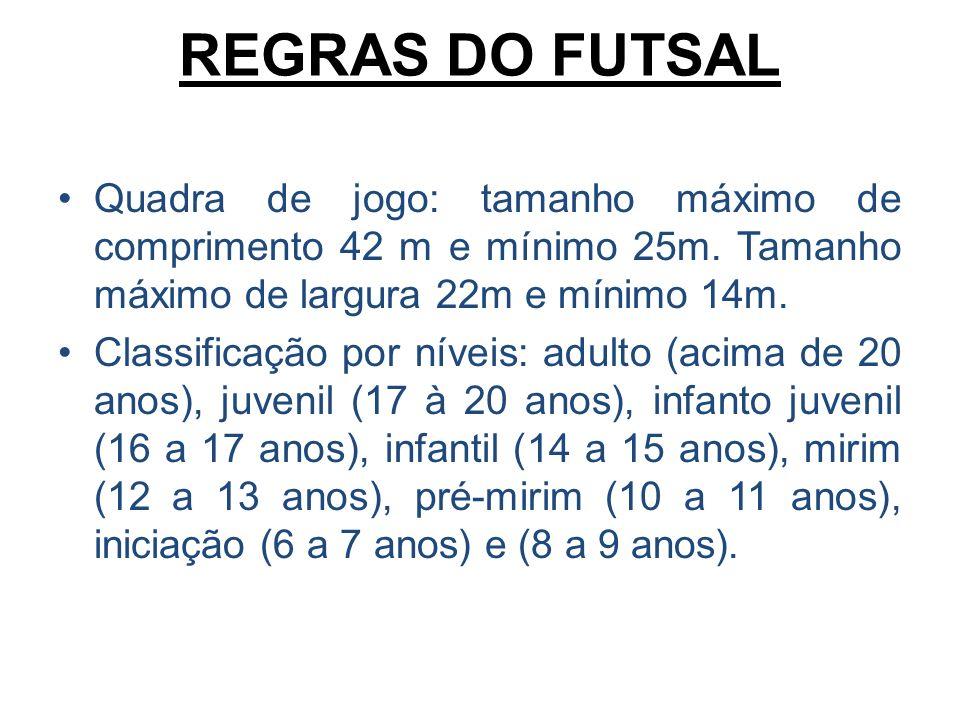fcb138f783 11 REGRAS DO FUTSAL Quadra de jogo  tamanho máximo de comprimento 42 m e  mínimo 25m.