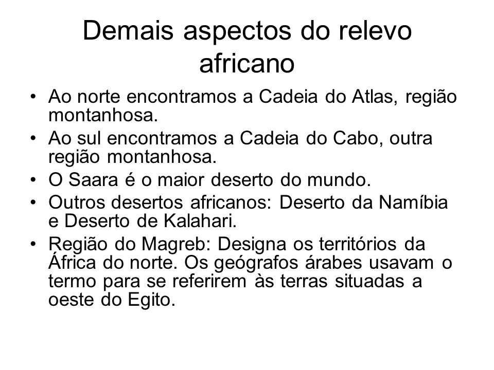 Demais aspectos do relevo africano