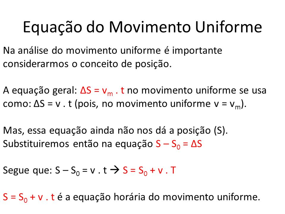 Equação do Movimento Uniforme