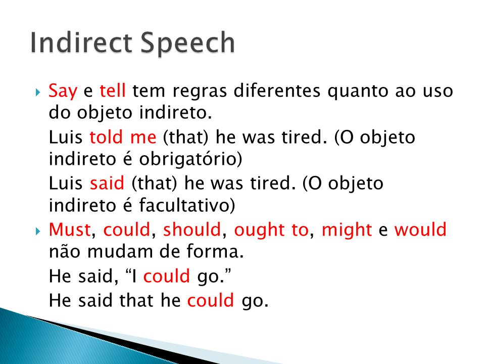 Indirect Speech Say e tell tem regras diferentes quanto ao uso do objeto indireto.
