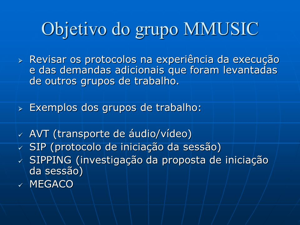 Objetivo do grupo MMUSIC