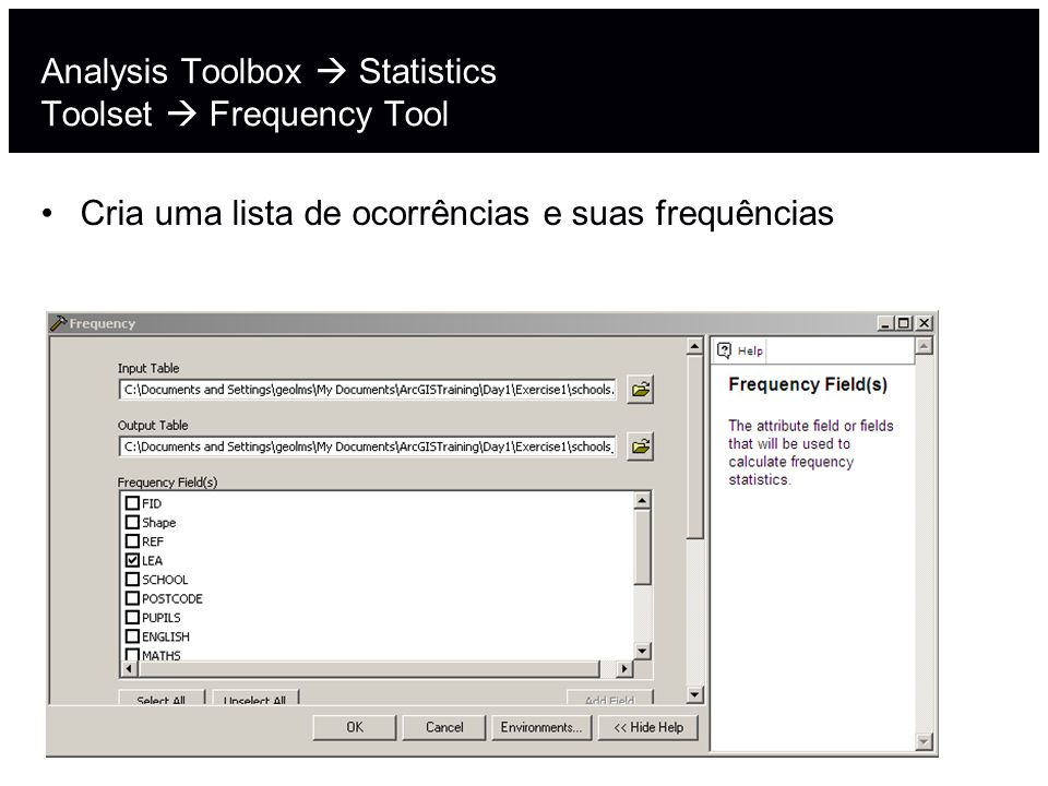 Analysis Toolbox  Statistics Toolset  Frequency Tool