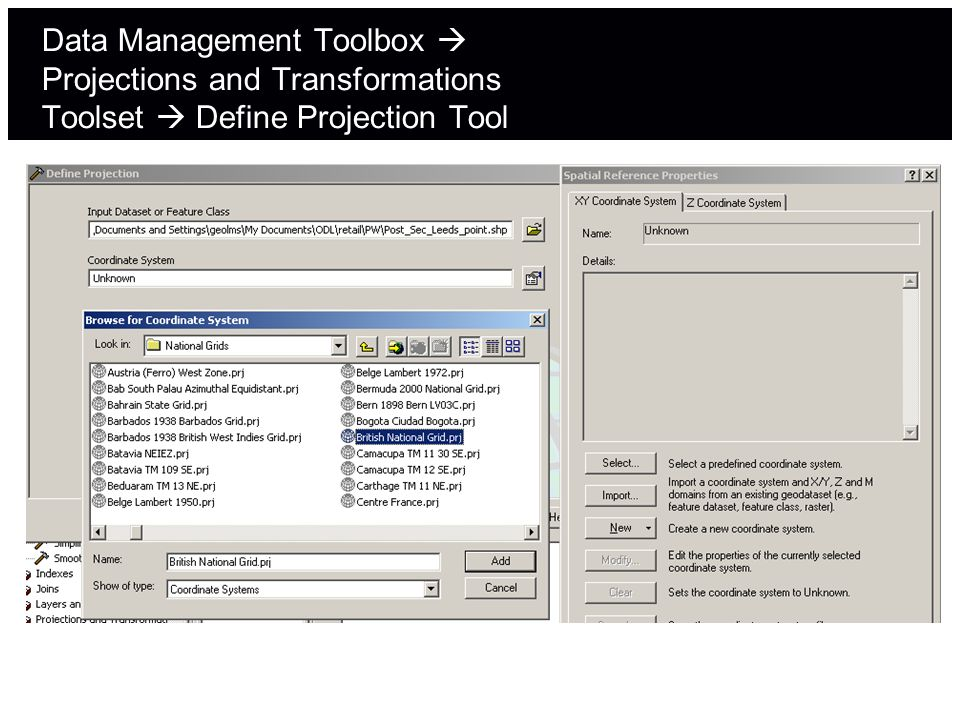 Data Management Toolbox  Projections and Transformations Toolset  Define Projection Tool
