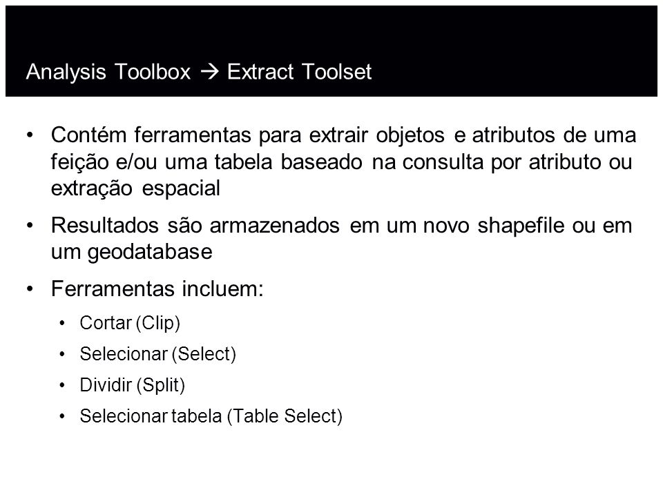 Analysis Toolbox  Extract Toolset