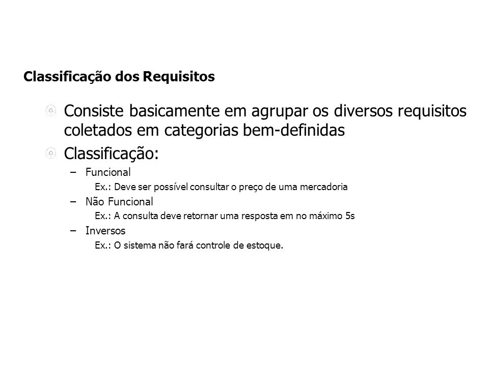Classificação dos Requisitos