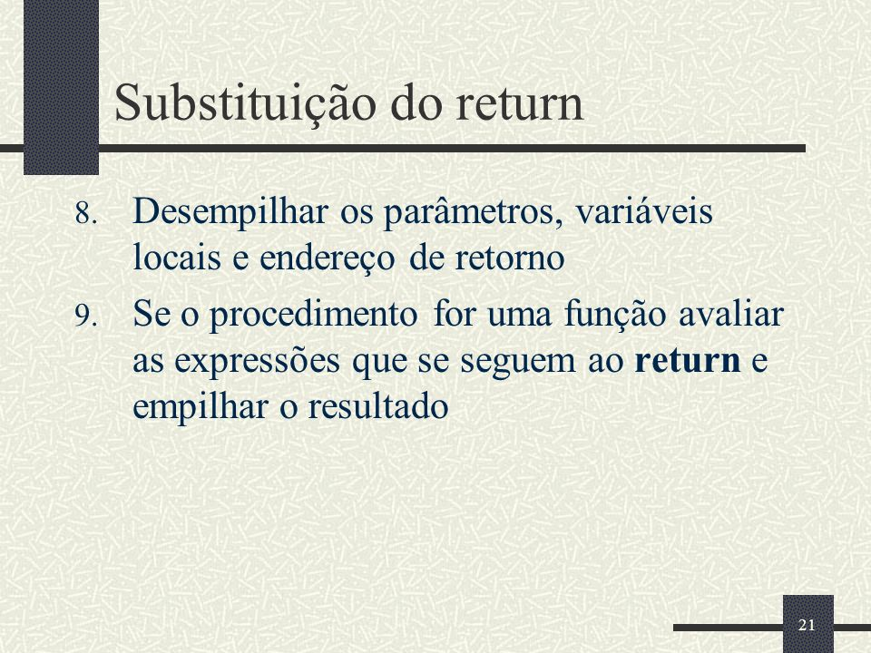 Substituição do return