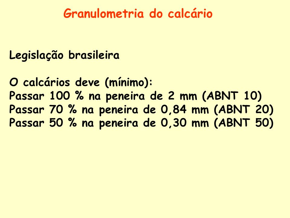Granulometria do calcário