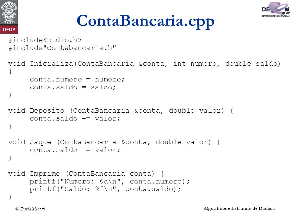 ContaBancaria.cpp #include<stdio.h> #include Contabancaria.h