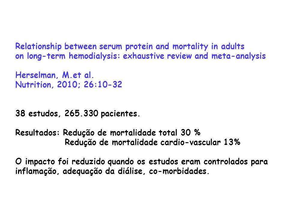 Relationship between serum protein and mortality in adults