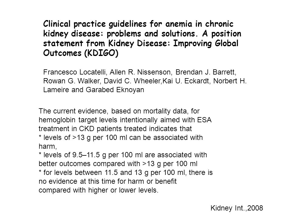 Clinical practice guidelines for anemia in chronic