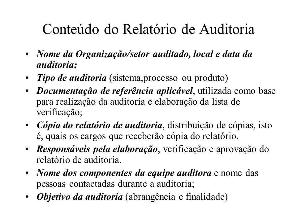 Relatório De Auditoria Ppt Carregar
