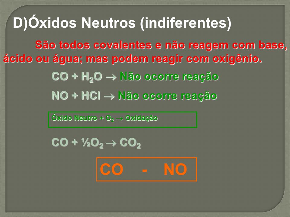 CO - NO D)Óxidos Neutros (indiferentes)