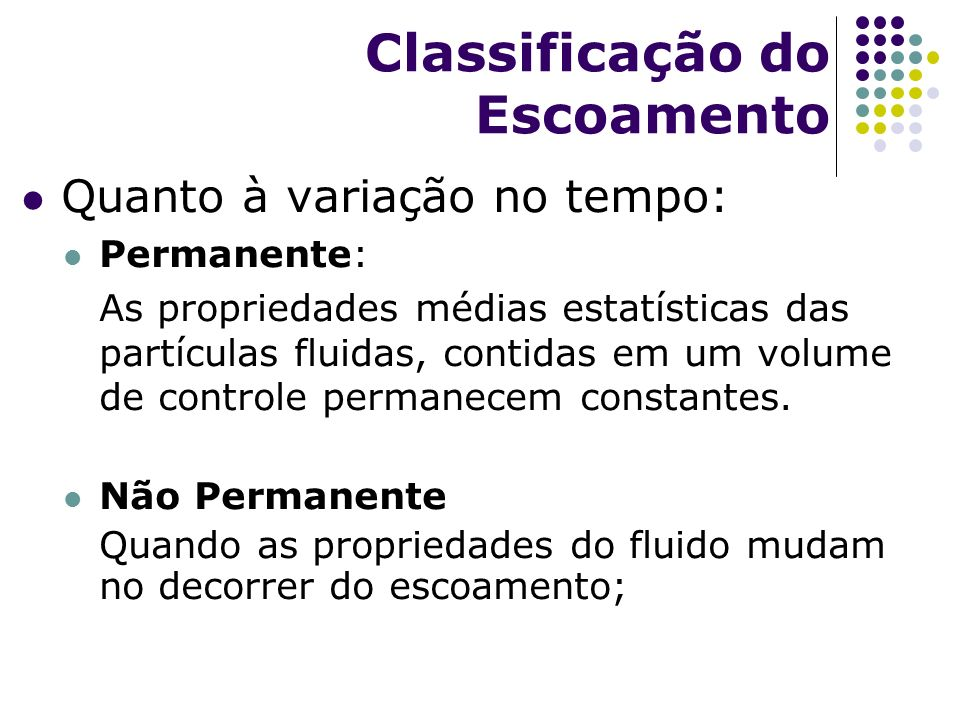 Classificação do Escoamento