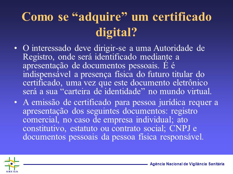 Como se adquire um certificado digital