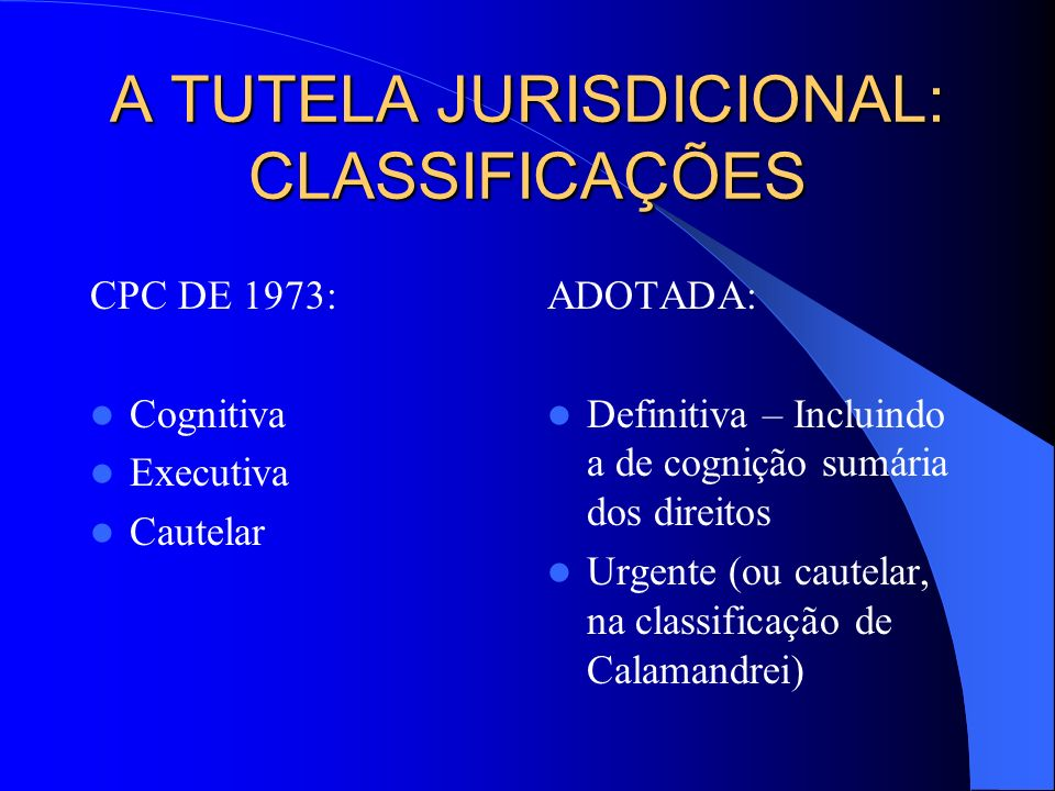 A TUTELA JURISDICIONAL: CLASSIFICAÇÕES