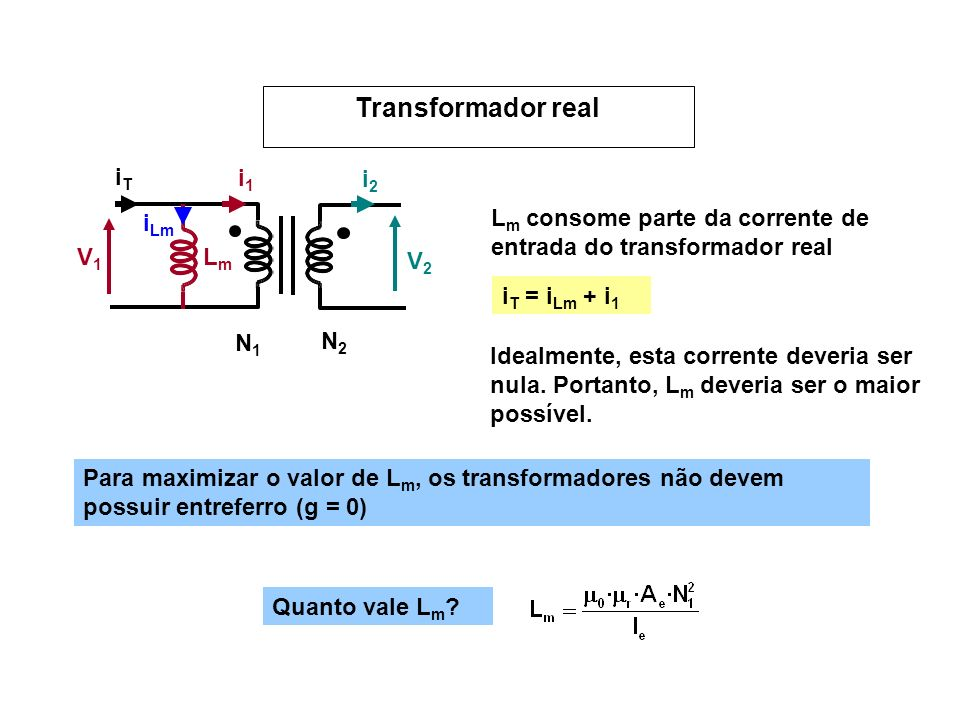 Transformador real V1 V2 N1 N2 i1 i2 Lm iLm iT iT = iLm + i1