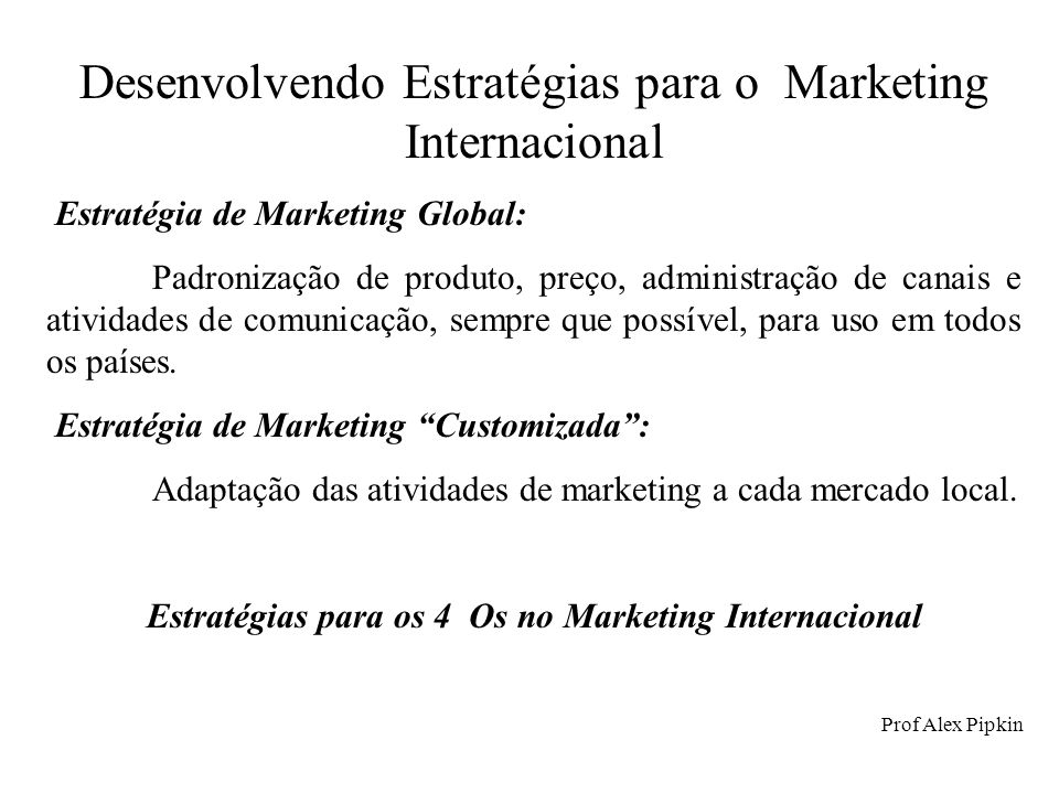 Estratégias para os 4 Os no Marketing Internacional