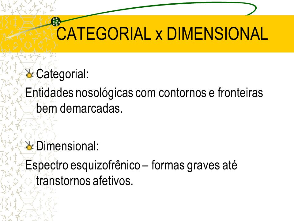 CATEGORIAL x DIMENSIONAL