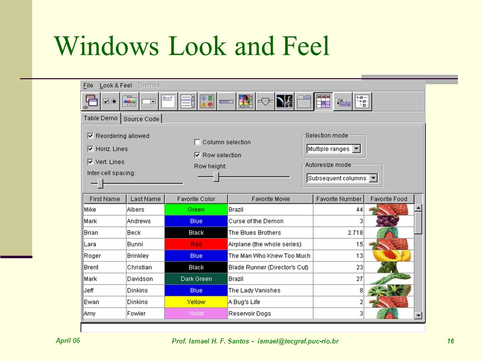 Windows Look and Feel April 05