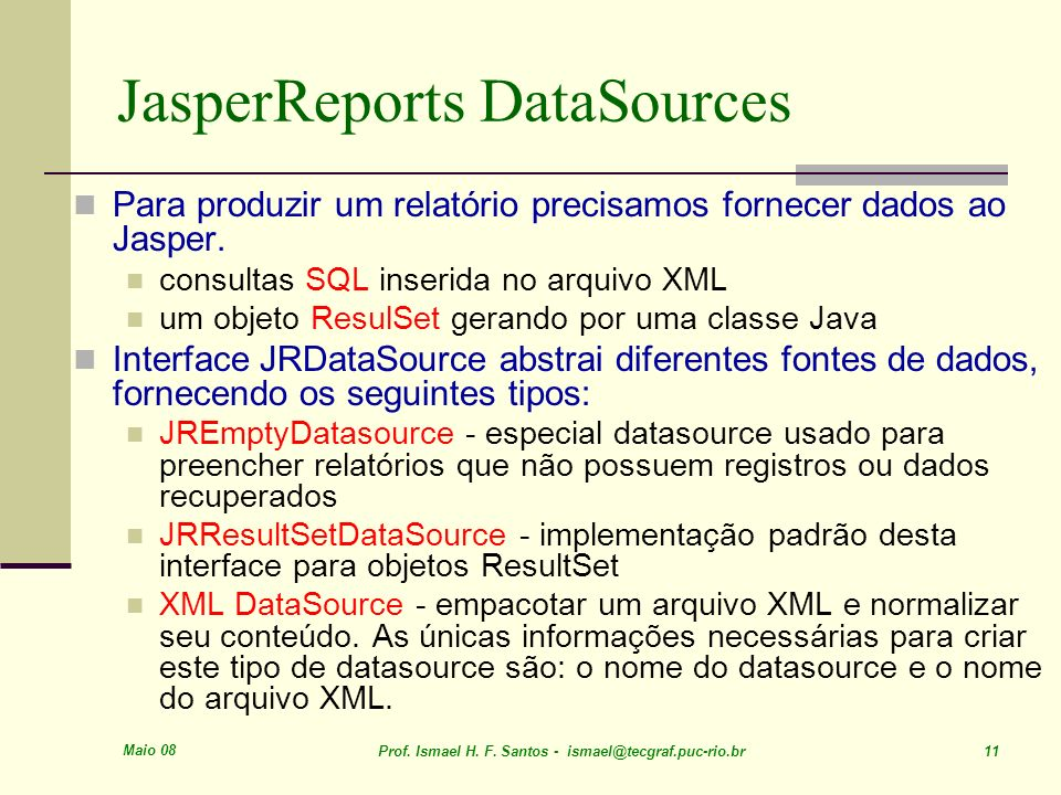 JasperReports DataSources