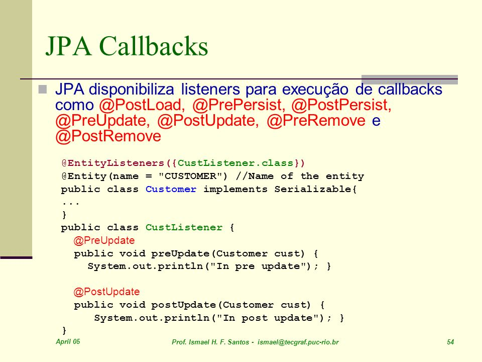 JPA Callbacks