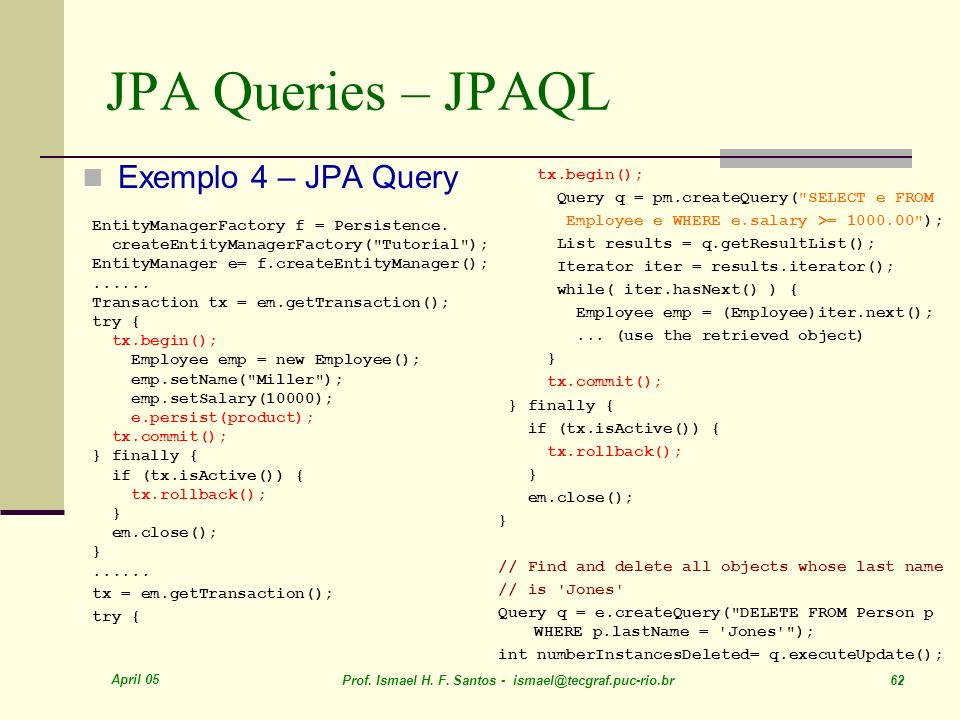 JPA Queries – JPAQL Exemplo 4 – JPA Query