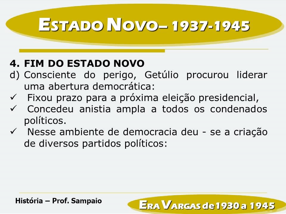 ESTADO NOVO– ERA VARGAS de1930 a 1945 FIM DO ESTADO NOVO