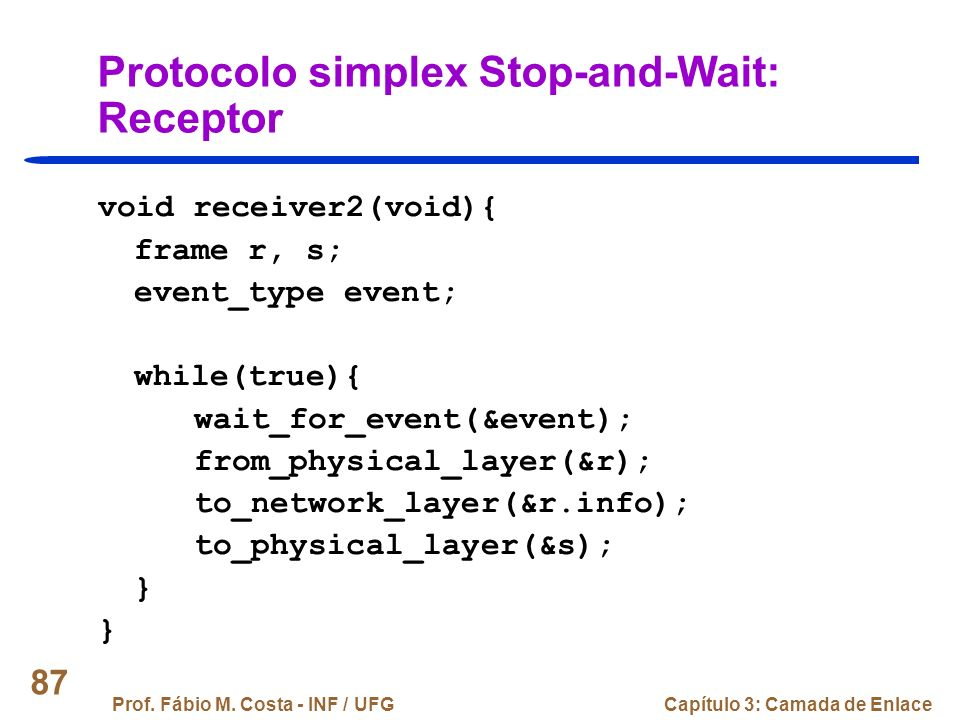 Protocolo simplex Stop-and-Wait: Receptor
