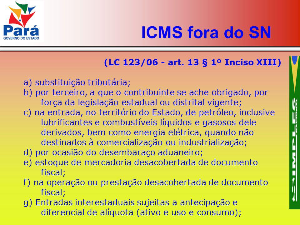 ICMS fora do SN (LC 123/06 - art. 13 § 1º Inciso XIII)