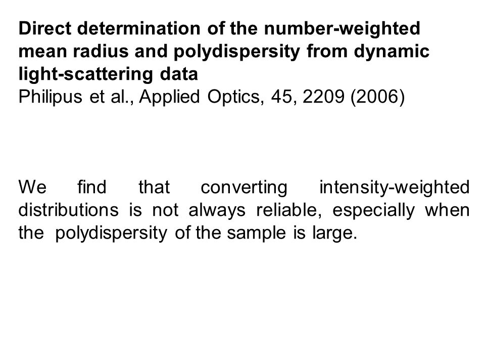 Direct determination of the number-weighted mean radius and polydispersity from dynamic light-scattering data