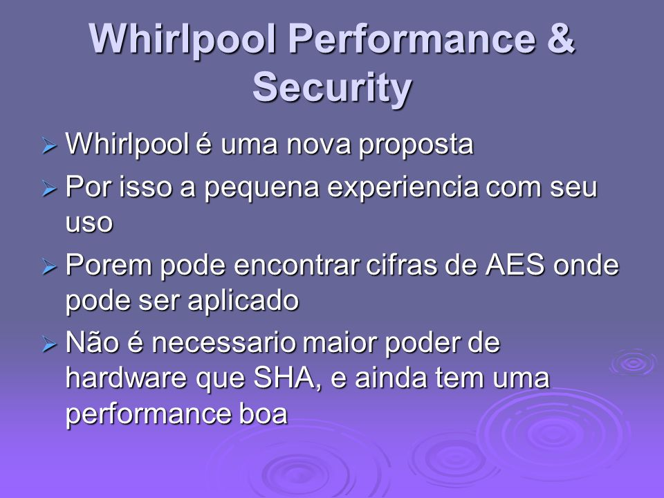 Whirlpool Performance & Security