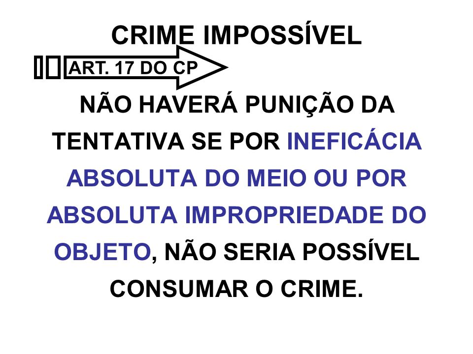 CRIME IMPOSSÍVEL ART. 17 DO CP.
