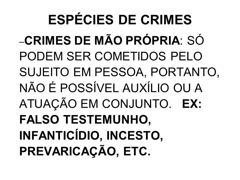 ESPÉCIES DE CRIMES