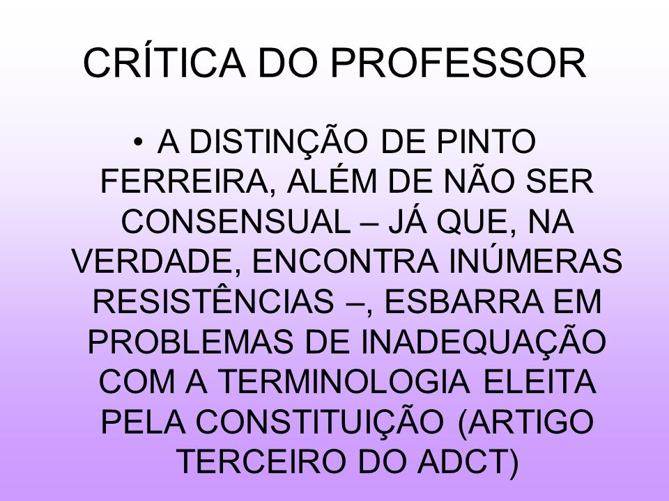 CRÍTICA DO PROFESSOR