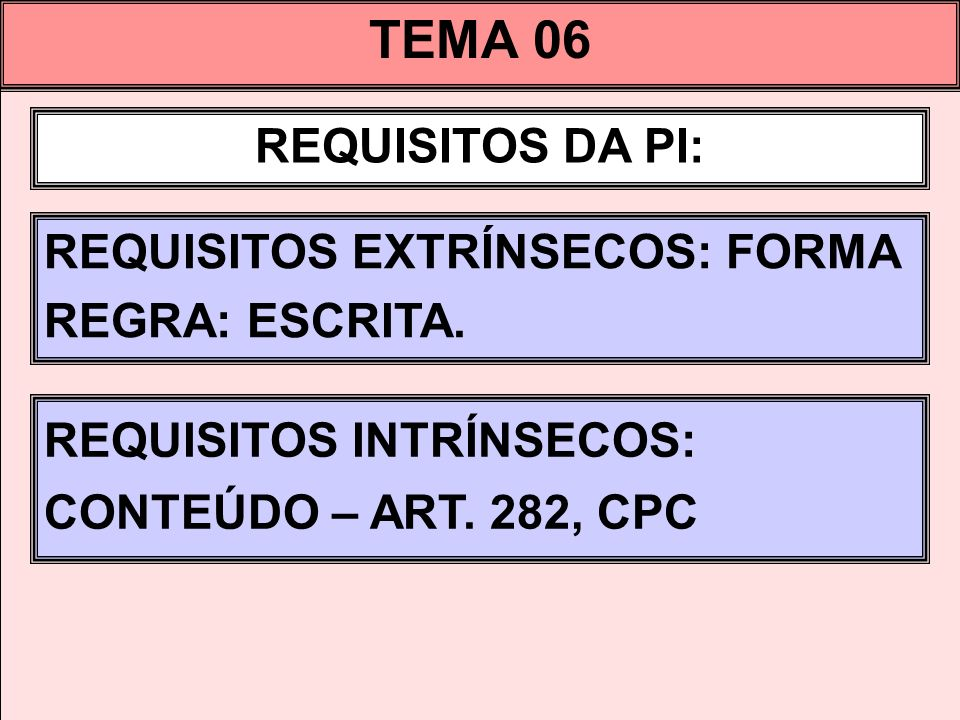 TEMA 06 REQUISITOS DA PI: REQUISITOS EXTRÍNSECOS: FORMA